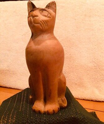 DETAILED HAND CARVED WOODEN TWO CATS ABSTRACT ART CARVING ORNAMENT 200MM