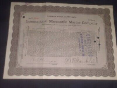 1915 International Mercantile Marine Co. Titanic owners signed Philip Franklin