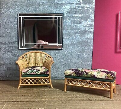 1:12 Dollhouse cane rattan rocking chair and foot-stool wine//gold//green