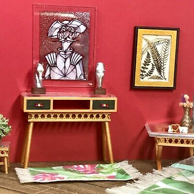 1:12 Dollhouse console table cane rattan tropical green /& beveled top