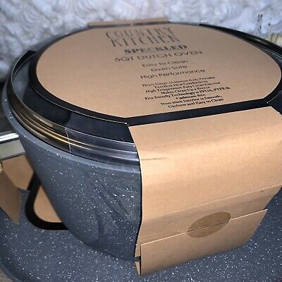 Country Kitchen 5 Qt Dutch Oven Gray Speckled New Wood Grain Look Double Handle 36 08 Picclick Uk