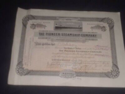 1913 The Pioneer Steamship Company stock certificate signed C.L.Hutchinson