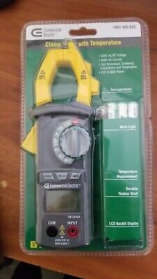 NEW Commercial Electric Clamp Meter w/ Temperature 600V AC/DC Voltage 1001 490