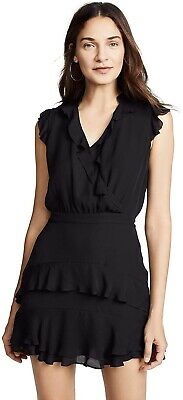Parker 252575 Women's Black Tangia Flutter Sleeve Short Dress Size 6