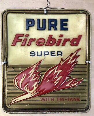 Vintage 1950 Pure Firebird Gas Pump Super Gasoline Tri-Tane Motor Oil 12x14 Sign