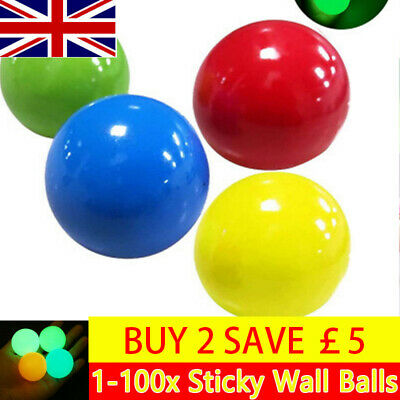 8x Fluorescent Sticky Wall Balls Globble Target Ball Decompression Toy For Kid