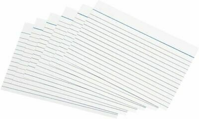 """100 Revision Presentation Record Cue CARDS DOUBLE SIDED LINED CARD 5 x 3"""" White"""