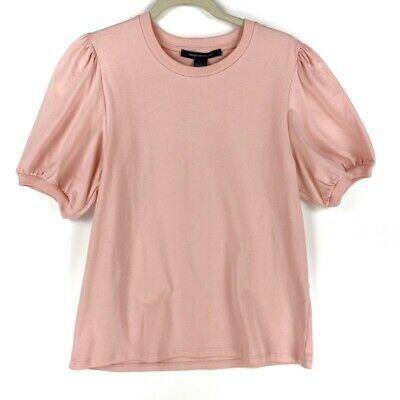 French Connection Womens Blouse Blush Pink Puff Sleeve Crew Neck Cotton Top L 7 64 Picclick