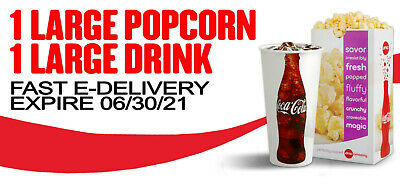 AMC Theaters 1 Large Drink & 1 Large Popcorn--Fast E-Delivery Expires 6/30/21