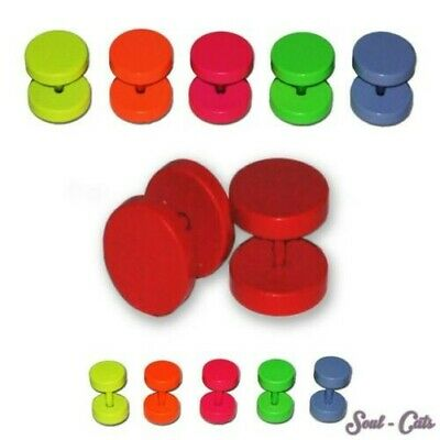 Fake Plug Earring Studs Tunnel Stainless Steel Red Green Neon Blue Orange