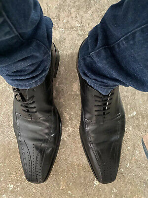 Men Versace 1969 Antoine Black Genuine Leather Lace Up Dress Shoes Made in Italy