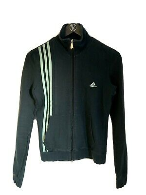Unisex Kids Size L Black Adidas Zip Up Jumper Immaculate Condition