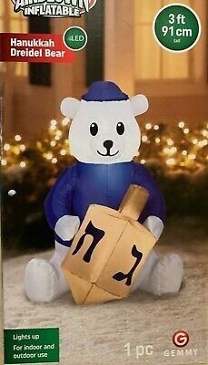 NEW Gemmy Polar Bear 3ft 6in Tall LED Airblown Inflatable Lights Up