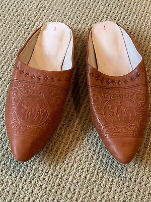 Moroccan Pointed Toe Babouche Traditional Luxe 100/% Leather Handmade Native Orange Slipper Shoes One of a Kind