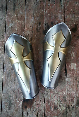 Pair of steel bracers with brass cross, larp armor for medieval cosplay