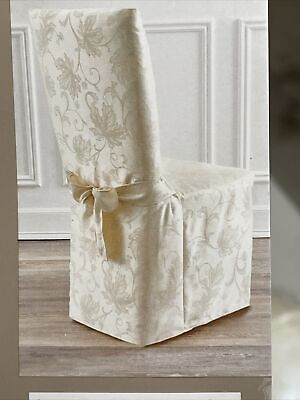 Autumn Vine Damask Fabric Dining Chair Cover in Mushroom