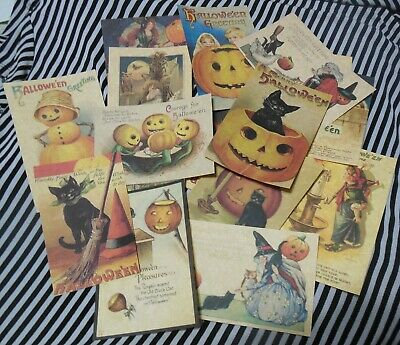 Set of 16 LARGE Vintage/Prim look Halloween labels/ vintage postcard images #3