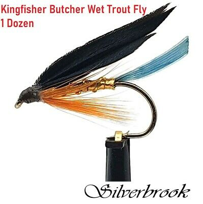 3 x KINGFISHER BUTCHER WET TROUT FLIES sizes10,12,14  available FROM MGT TACKLE