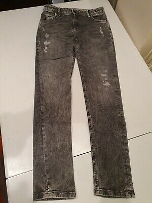 Primark Boys Denim Jeans, Grey Stressed Look -  Age 12- 13 Years