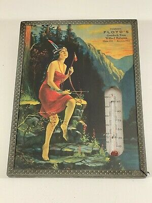 Vintage 1930's Pinup Girl Advertising Thermometer Indian Maiden Excellent