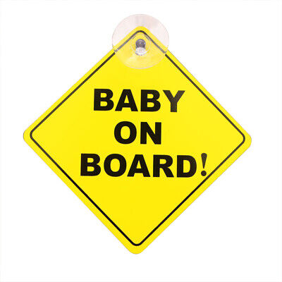 Suction cup BABY ON BOARD warning sign car sticker 1mm thick BG