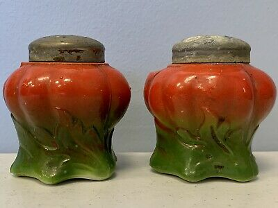 VERY RARE EARLY-1900's ANTIQUE Milk Glass  TOMATO Salt Pepper SHAKER WITH LID