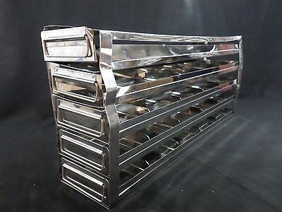 "Laboratory Stainless Steel 5-Drawer 25-Position 2"" Box Upright Freezer Rack B"