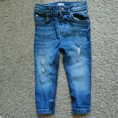 River Island Mini baby Boys Blue ripped Jeans 12-18m clothes bottoms