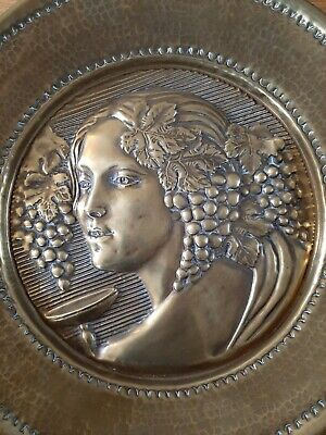 ART NOUVEAU VINE/LEAVES BRASS/COPPER WALL PLAQUE 35.5cm WIDE, GOOD LOOKING PIECE