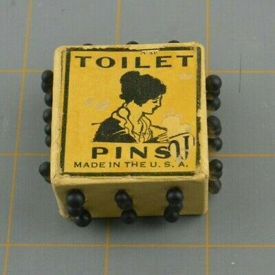 Vintage Antique Victorian Toilet Pins Cube Holder White Made in USA Black Needle