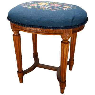 Antique French Louis XVI Fruitwood and Needlepoint Stool, 19th Century