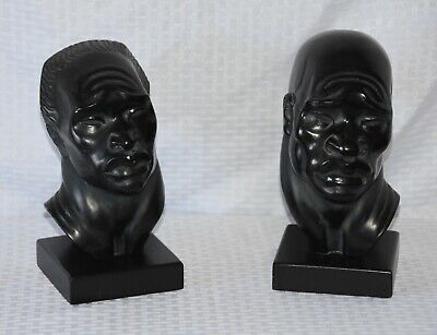 Ceramic Sculpture African Heads by American Artist Fred Press Tribal Bus