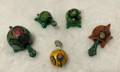 Set of 5 Hand Painted Bobble Heads Small Wood Turtles and a Bird Desk Toys
