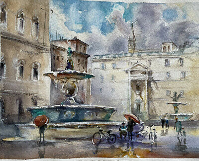 "original watercolor painting 8""x10"" Italy Evening Fontain"