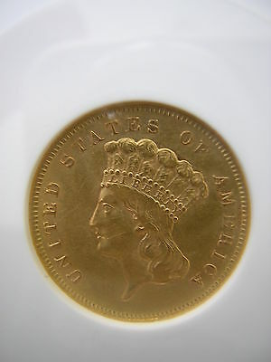 Anacs 1856 S  $3.00 Princess Gold Piece Medium  S   Au 55  (Rare)