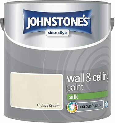 Johnstone's 306590 Wall and Ceiling Vinyl Silk 2.5 Litres, Antique Cream