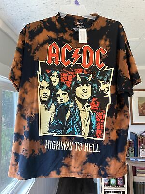 New Men's 2XL Authentic Graphic Tie Dye AC/DC Highway to Hell T-Shirt NWT XXL