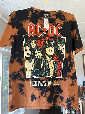 New Men's L Authentic Graphic Tie Dye AC/DC Highway to Hell T-Shirt NWT Large