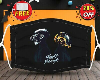 Daft Punk Rock And Roll  Face Mask Reusable Washable With Filter Pocket