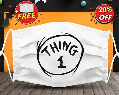Dr Seuss Thing 1 Face Mask Reusable Washable With Filter Pocket