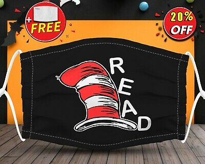 Dr Seuss Read  Face Mask Reusable Washable With Filter Pocket