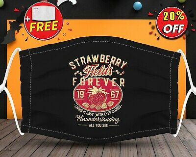 Straw Berry Forever Face Mask Reusable Washable With Filter Pocket