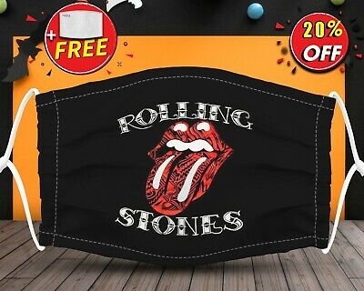 Rolling Stones  Face Mask Reusable Washable With Filter Pocket