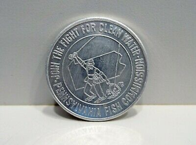 Vtg PA FISH COMMISSION TOKEN Fight For Clean Water Good Luck Coin Pennsylvania