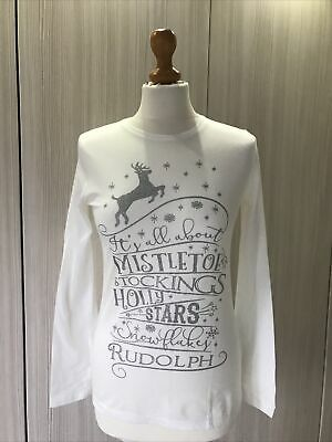 """BNWOT Cream Long Sleeved """"Its All About..."""" Christmas Top Size Age 13"""