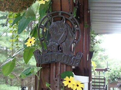 Cast Iron Metal Country Horse Welcome Sign (French Country Black)
