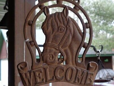 Cast Iron Metal Horse Welcome Sign/French Country