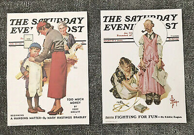 Vintage The Saturday Evening Post Litho Lot of 2,  7x5