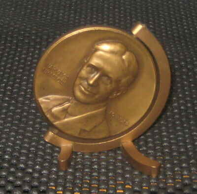 1950 Firestone Tire Fifty Years Of Service Bronze Medallion Medal With Stand
