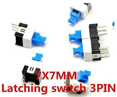 10 Pcs  7 x 7mm PCB Tactile Push Button Switch Latching 3 Pin self lock On/Off
